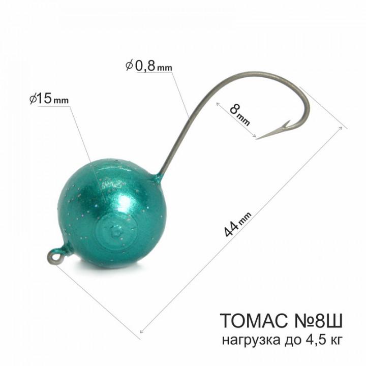 Томас №8Ш крючок на кефаль и лобаня с зеленым шаматом 15 мм (1шт)