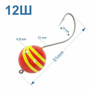 Томас №12Ш крючок на пеленгаса с полосатым шаматом 19 мм (1шт)