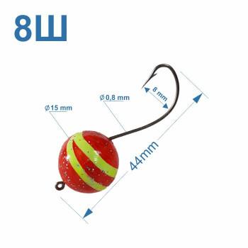 Томас №8Ш крючок на пеленгаса с полосатым шаматом 15 мм (1шт)
