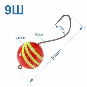 Томас №9Ш крючок на пеленгаса с полосатым шаматом 19 мм (1шт)