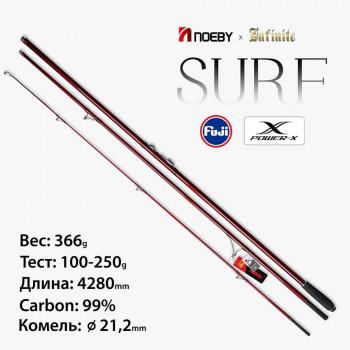 Серфовое удилище NOEBY Infinite 4,28м, тест 100-250г, вес 366г